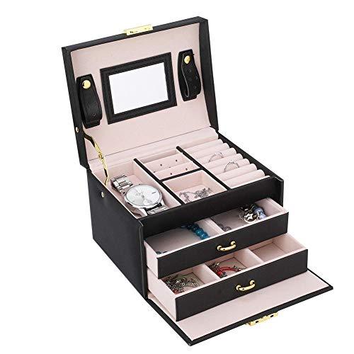 Portagioie con serratura in PU, con 3 cassetti e specchio, per collane, orologi, anelli, bracciali, regalo per donne e ragazze, 17 x 14 x 13 cm (nero)