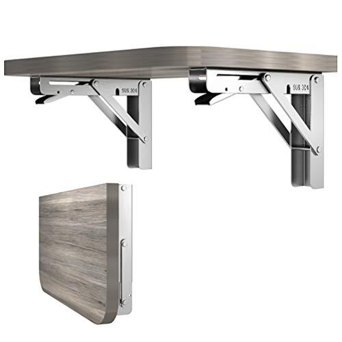 2 piezas de 25,4 cm de longitud de acero inoxidable triángulo plegable soporte ajustable montado en la pared durable estante soporte estante soporte de estante para bricolaje mesa hogar Banco