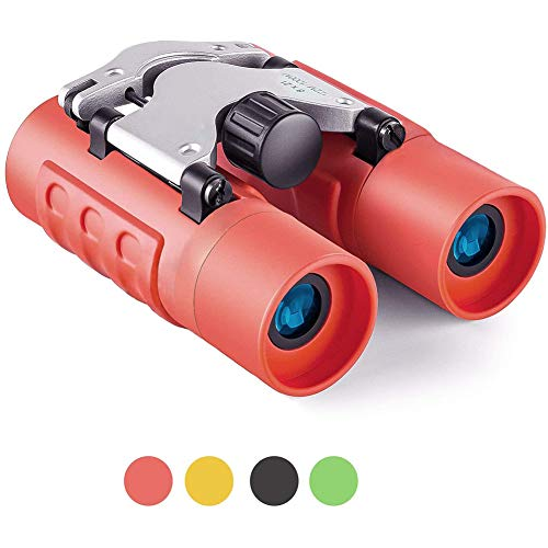 LTJY Binoculars for Kids Best Gifts for 3-12 Years Boys Girls 8x21 High-Resolution Real Optics Mini Compact Binocular Toys Shockproof Folding Small Telescope for Bird Watching,Travel, Camping,Red