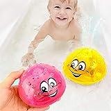 WWJJLL Baby-Bad-Spielzeug, automatische Induktion Wasser-Spray-Kugel, Lichtkinder Badewanne Spielen Spielzeug 7 Farben-Licht-2ST