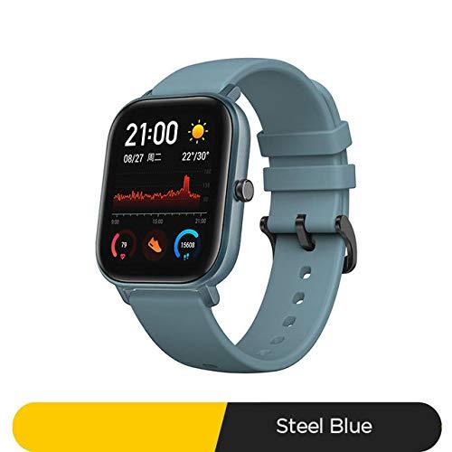 slim horloge,Smart Watch 5atm Waterproof Swimming Smartwatch 14 Dagen Batterij Muziekbediening Voor Android-telefoon a Staal blauw