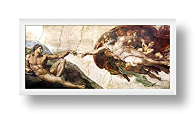 Alonline Art - The Creation Of Adam by Michelangelo   Framed picture poster   Ready to hang frame   Printed on canvas from Alonline Art Studio