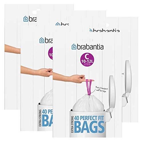 Brabantia Müllbeutel Spenderverpackung (C) 10-12 Liter, 40 Mülltüten - Einfach zu verschließen - mit integriertem Zugband - Passgenau auf Brabantia Abfallbehälter zugeschnitten (5er Pack)