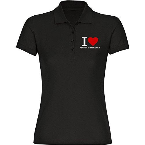 Multifanshop - Polo clásico para mujer (talla L), diseño de Emiratos Árabes, color negro S - 2XL Negro S