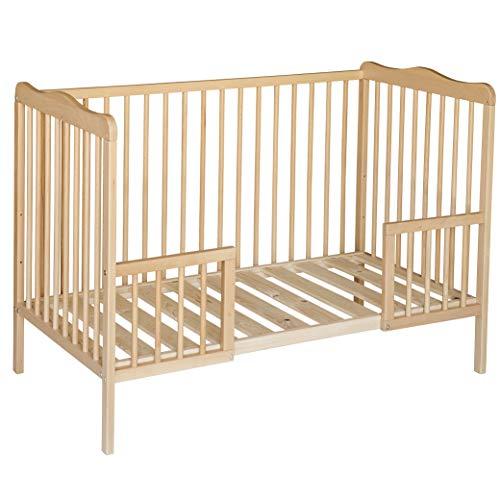 Best For Kids Gitterbett weiß oder natur mit Rausfallschutz Kinderbett Babybett 120x60 cm mit oder ohne Matratze (Natur mit Matratze)