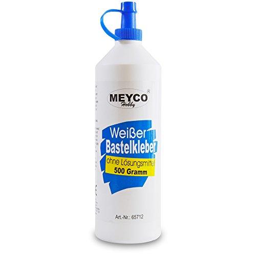 Meyco weißer Bastelkleber 500 g - trocknet transparent - ohne Lösungsmittel - für Textil, Holz, Filz, Papier - Universalkleber mit Dosierspitze