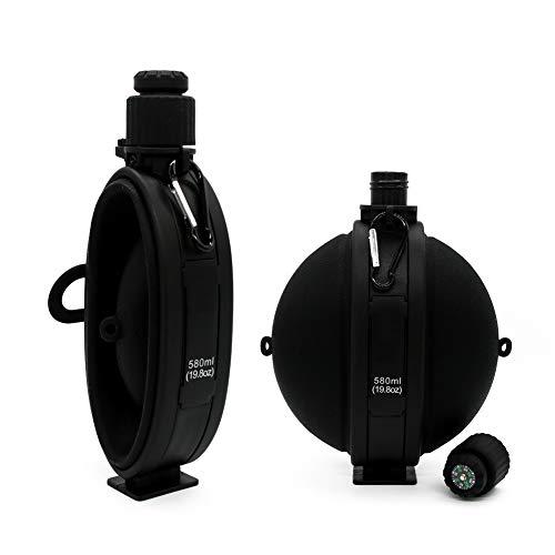 goooods Faltbare Wasserflasche Feldflasche Wasserflasche Trinkflasche - Bundeswehr Militär Army Style mit Kompass, BPA frei, 580 ml (Schwarz)