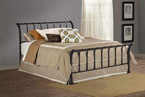 Big Sale Best Cheap Deals Hillsdale Furniture 1655BQR Janis Metal Sleigh Bed Set with Rails, Queen, Textured Black