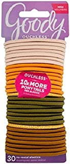 Goody Ouchless Elastic Hair Ties, Assorted Primal Neutrals, 30 count