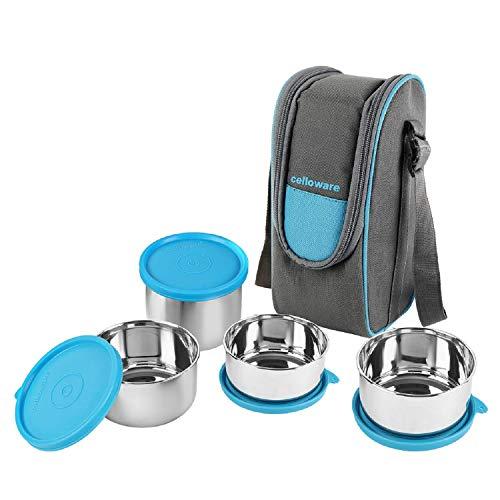 Cello Steelox Stainless Steel Lunch Box-4 Steel, Blue, (Capacities - 225ml, 375ml x 2, 550ml)