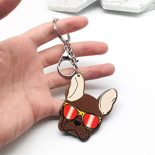 Dltmysh Key chain French Bulldog Key Chain Silicone Husky Key Ring Pom Gift For Pets Lover Bag Charm Keychain (Color : 4)