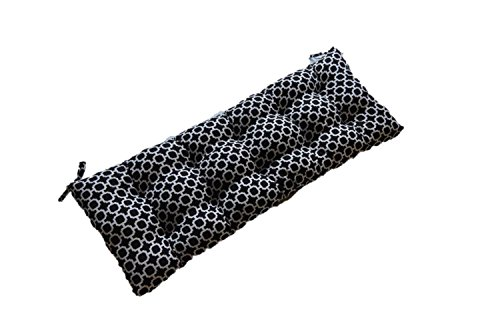 Resort Spa Home Decor Black & White Hockley Geometric Print Indoor/Outdoor Tufted Cushion for Bench, Swing, Glider - Choose Size (60' x 18')