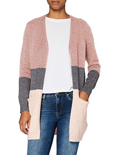 ONLY Damen Onlqueen L/S Long Cardigan Knt Noos Strickjacke, Mehrfarbig (Misty Rose Stripes:w. Mgm/Cloud Pink Melange), L EU