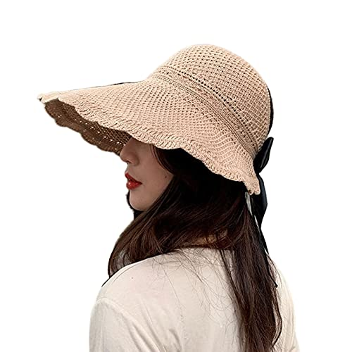 UKKD Sombrero De Copa Vacío Sombrero De Paja De Las Mujeres Top Vacío con La Tapa De Lazo A Prueba De Viento Protección Solar-Style 2-Khaki,One Size
