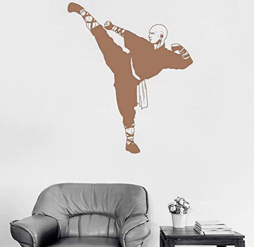 Chinesische Kongfu Shaolin Mönch Vinyl Wandtattoo Krieger Asiatische Kunst Aufkleber Wandbild Livnig Rooom Boy Schlafzimmer 56x67 cm
