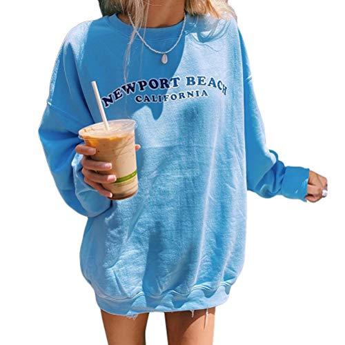 Shownicer Sweatshirts Für Damen Lange Ärmel Pullover Winter Mit Rundhalsausschnitt Vintage Streetwear Oversized Bunter Cartoons Mädchen Sportbekleidung Top Hoodie D Blau M