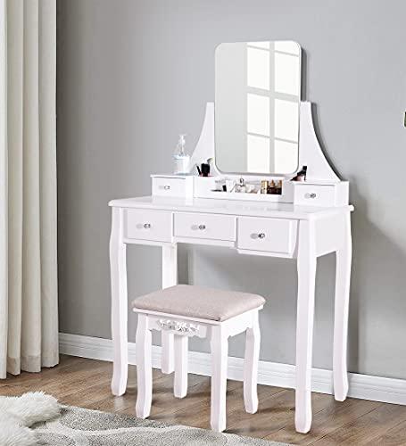 Honganrunli Tocador y taburete acolchado, mesa cosmética con espejo completo giratorio, juego de to