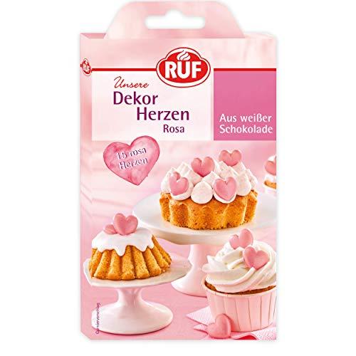 RUF Dekor-Herzen rosa aus weißer Schokolade, essbare Dekoration für Kuchen und Torten, Schoko-Herzen, 15 Stück
