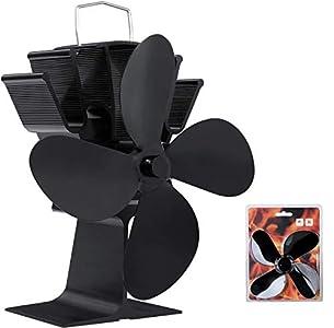 Femor Ventilador de Estufa de 4 Palas, Ventilador de Estufa de Calor para Estufas de Leña/Leña/Chimenea, Funcionamiento silencioso de 50 ° C a 80 ° C, , con Aspa de Repuesto