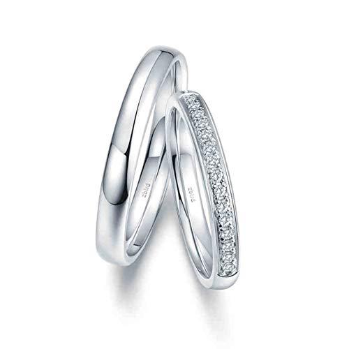 KnSam Anillo Oro Blanco de 18K, Sencillo Elegante Pulido Anillo de Confianza con Diamante Blanco 0.075ct, Mujer Talla 18,5 y Hombre Talla 27 (Precio por 2 Anillos)
