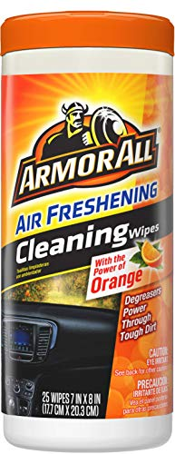 Armor All Car Interior Cleaner Wipes for Dirt & Dust - Cleaning for Cars & Truck & Motorcycle, Orange, 25 Count, 10831