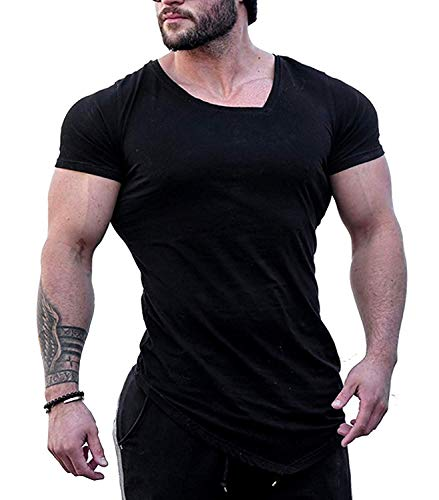 Burlady Fitness T-Shirt Kurzarm Herren Funktionelle Sport Bekleidung Gym Workout Training Slim Fit Sommer Trikot (63-Schwarz, S)