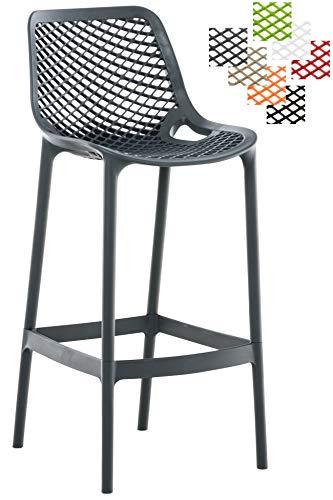 CLP Barhocker AIR Aus Pflegeleichtem Kunststoff I Wetterbeständiger Tresenstuhl I Barstuhl Mit Fußstütze Und Einer Sitzhöhe Von 75 cm Dunkelgrau