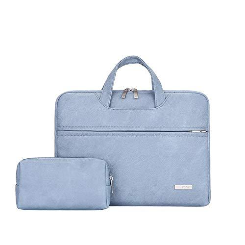 WYHP 13-15,6 inch laptop schoudertas beschermhoes Briefcase Met PU leder stof en Grey Strap (Color : Blue, Size : 15.6 inch)