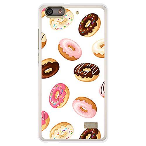 BJJ SHOP Custodia Trasparente per [ Huawei G Play Mini ], Cover in Silicone Flessibile TPU, Design: Ciambelle al Cioccolato e Zucchero con glassa