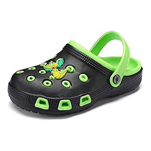 Zuecos para niños Unisexo Sandalias Niños Muchachas Zapatillas Verano Jardín Playa Negro Verde 29
