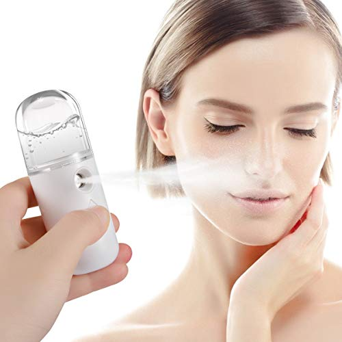 Portable Mini Cool Mist Facial Sprayer- Handy Nano Face Steamer Moisturizing Hydrating Face Mister Atomization Dry Skin Face Moisturizer Daily Skin Care Tool for Skin Care Makeup Eyelash Extensions