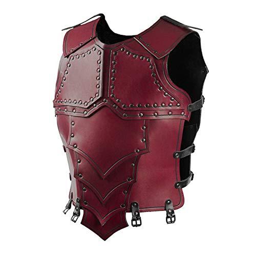 MAATCHH Traje Medieval Samurai Cuero de la PU de la Personalidad Escala Coraza Horse Armor Cuero Punky Renacimiento Medieval (Color : Red, Size : One Size)