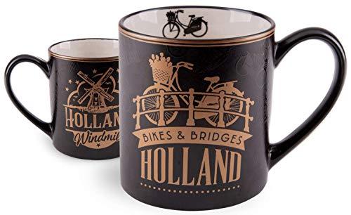 Matix Amsterdam Bikes & Bridges - Taza (cerámica, 10 cm), color dorado y negro