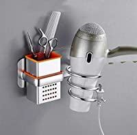 Aluminum Color Hair Dryer Holder With Cup Households Wall Mount Bathroom Accessories Hair Dryer Shelf Metal Black Hair Dryer Rack El190