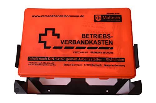 sterni1945 1 Stück Betriebsverbandkasten Rot/Orange Inhalt nach DIN 13157 gemäß Arbeitsstätten - Richtlinien Verbandskasten 1.Hilfe Verbandkasten mit Wandhalterung Verbandkasten