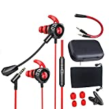 Gaming Earbuds 3.5mm Jack with Microphone Headset Gamer Noise Cancelling Stereo Wired Earphones with Detachable Mic Volume Control Headphone for Smart Phone PC Xbox One PS4 for iOS Android (red 1)