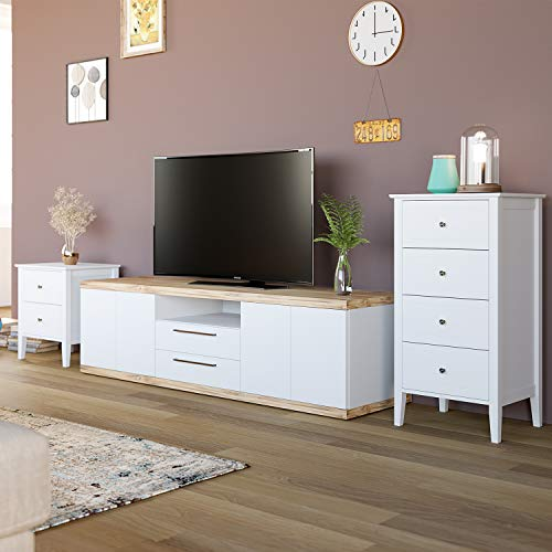 Homfa 4 Drawer Chest, Bathroom Floor Cabinet, Solid Wood Frame, Antique-Style Handles Dressers (37.4H x 20W x 16D inch) Easy to Assemble -Soft White Finish