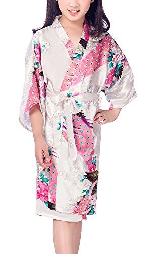 YAOMEI Niños Niña Vestido Kimono Satén Camisón