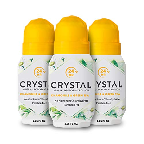 CRYSTAL Mineral Deodorant Roll-On- Body Deodorant With 24-Hour Odor Protection, Non-Staining & Non-Sticky Deodorant with Chamomile & Green Tea, Aluminum Chloride & Paraben Free, 2.25 FL OZ - 3 Pack