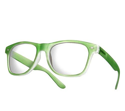 Morefaz Gafas estilo vintage, unisex, cristales siempre limpios Green Rubi clear lens Regular