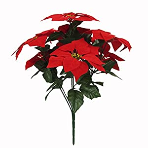 Htmeing 7 Head Red Poinsettia Decorative Artificial Christmas Flowers Fake Plants Indoor Home Decor for Christmas Tree-1 Bouquet