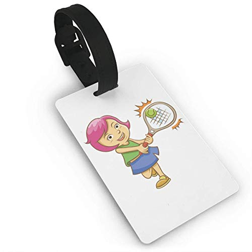Badminton Powder Hair Girl Luggage Tag Travel Accessories Business Card Holder