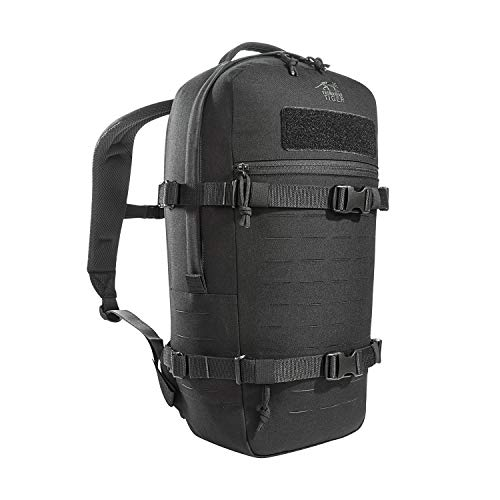 Tasmanian Tiger TT Modular Daypack L Molle-kompatibler, Ergonomischer Tages-Rucksack mit Kompressionsriemen, Trinksystem-Vorbereitung, 18 Liter (Schwarz)
