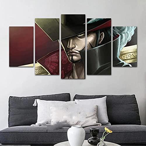 wangdazhuang 5 piezas de pintura moderna en lienzo para pared, diseño de anime para decoración del hogar, impresión sobre lienzo para decoración de pared, 150 x 80 cm