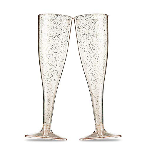 Gshy - Copas de champán Desechables de plástico Dorado con Purpurina, Reutilizables, Vasos de champán, para Fiestas, Bodas, Navidad, Fiestas de Fin de año, 5 Unidades