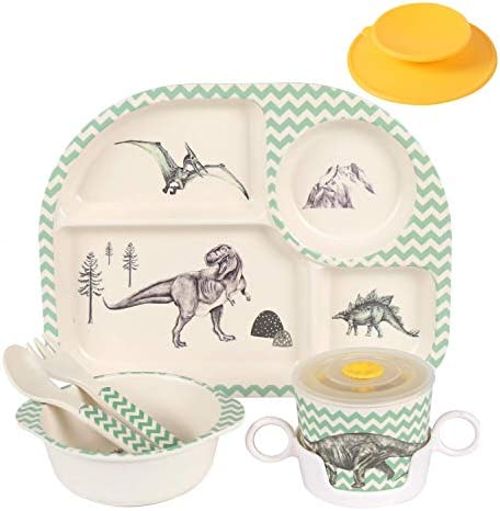 Shopwithgreen 5Pcs Set Bamboo Kids Dinnerware Set Children Dishes Food Plate Bowl Cup Spoon product image