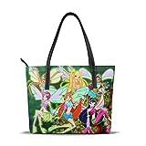 zhengdong Anime Winx Club Tote Bag Borse in pelle con cerniera, grande capacità impermeabile durevole adatto per viaggi di lavoro Shopping Party