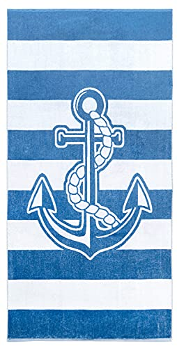 Lashuma Telo mare Athen, asciugamano da bagno blu e bianco a righe con ancora, 90 x 180 cm