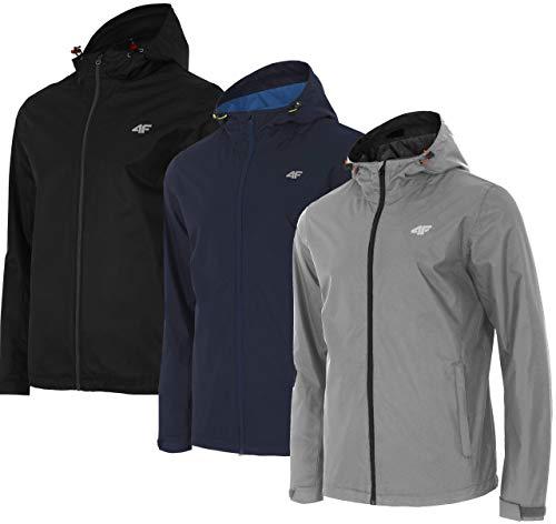 4F Übergangsjacke Herren Trekkingjacke | Outdoor Jacke mit Kapuze | Funktionsjacke Frühling KUMT001 (Grau, XL)