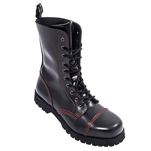 Boots & Braces - 10 Loch schwarz mit roter Naht, Stiefel Rangers Größe 40 (UK6)